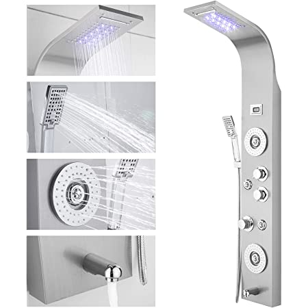 Peitten 52 Stainless Steel Shower Panel 5 in 1 Thermostatic Wall Mounted Shower Panel Tower System Rainfall Waterfall Massage Shower Panel, 52 inch Showerheads with Handheld Shower Head