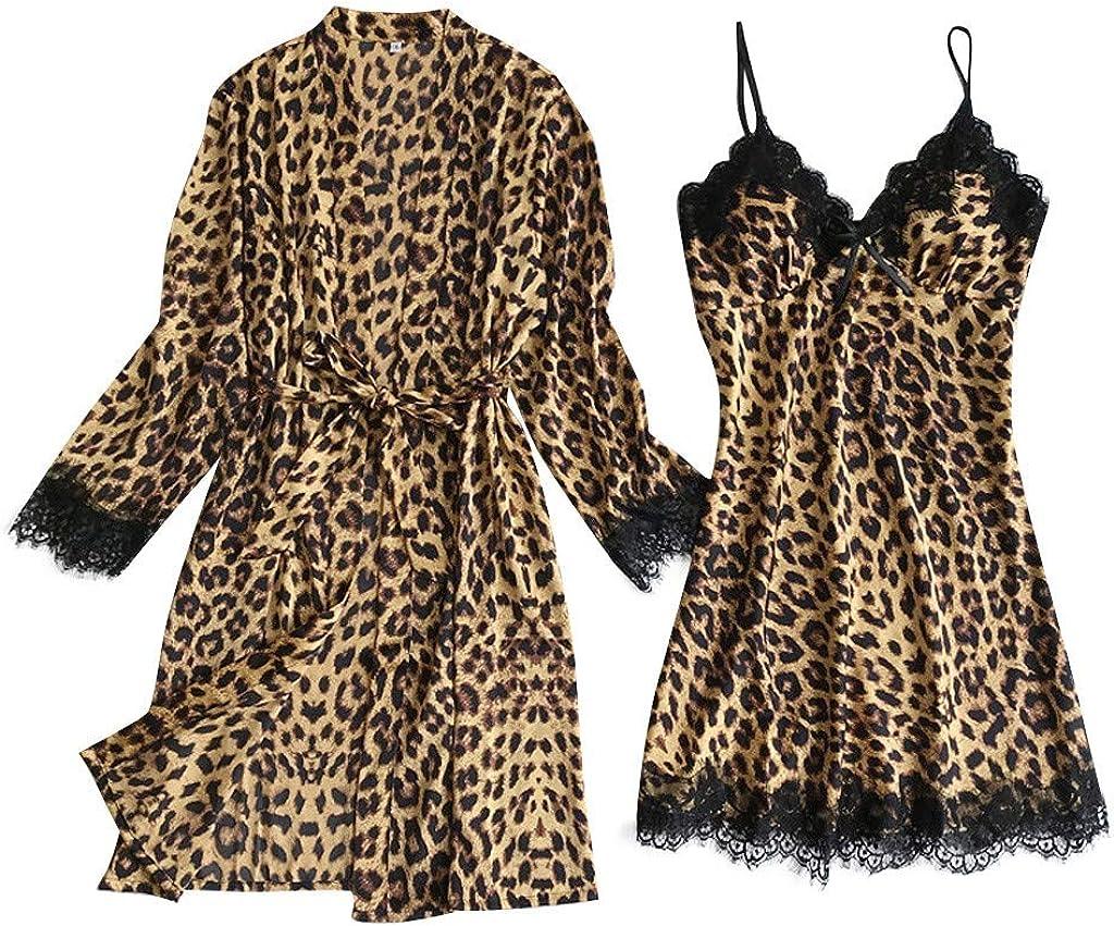 LATINDAY Lingerie Women Silk Lace Robe Dress Babydoll Sleepwear Nightdress Pajamas Set