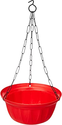 Gardens Need 100% Virgin Plastic Dove Hanging with Iron Chain   Set of 4 Planter, (22cm x 22cm x 24cm, Red)