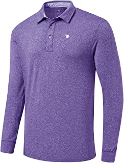 Gopune Men's Polo Golf Shirts Quick Dry Long Sleeve Athletic Polo T-Shirt