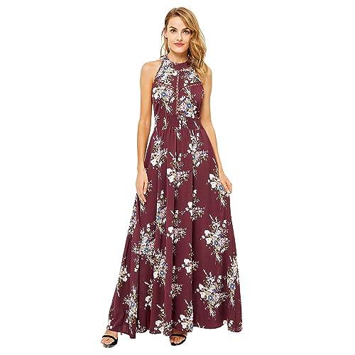 330fad6f516b7 Simplee Women's Summer Casual Halter Neck Chiffon Floral Print Backless Long  Maxi Dress