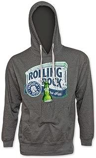 Rolling Rock Bottle Opener Grey Beer Pouch Hoodie