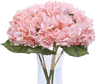 Jyi Hope Artificial Hydrangea Silk Flowers Bouquet 3Pcs Faux Hydrangea with Stems for Home Party Wedding Farmhouse Table Centerpiece Decoration (Pink)