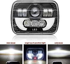 1pcs LED Rectangular Headlight Projector 7x6 5x7 inch Sealed Beam Replacement Hi/Lo Beam DRL Fits Headlamp Bulb for Wrangler, Colight T002N-1pcs