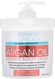 Advanced Clinicals Spa Size Pure Argan Oil Intensive Beauty Cream. Anti-aging Cream for Wrinkles and Dry Skin. 16oz Jar wi...