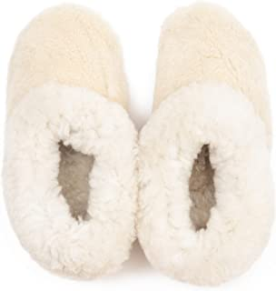 Patagonia Leather Goods Natural Sheepskin and Wool Slippers for Women – Comfortable Loungewear Slippers – Anti-Perspirant ...