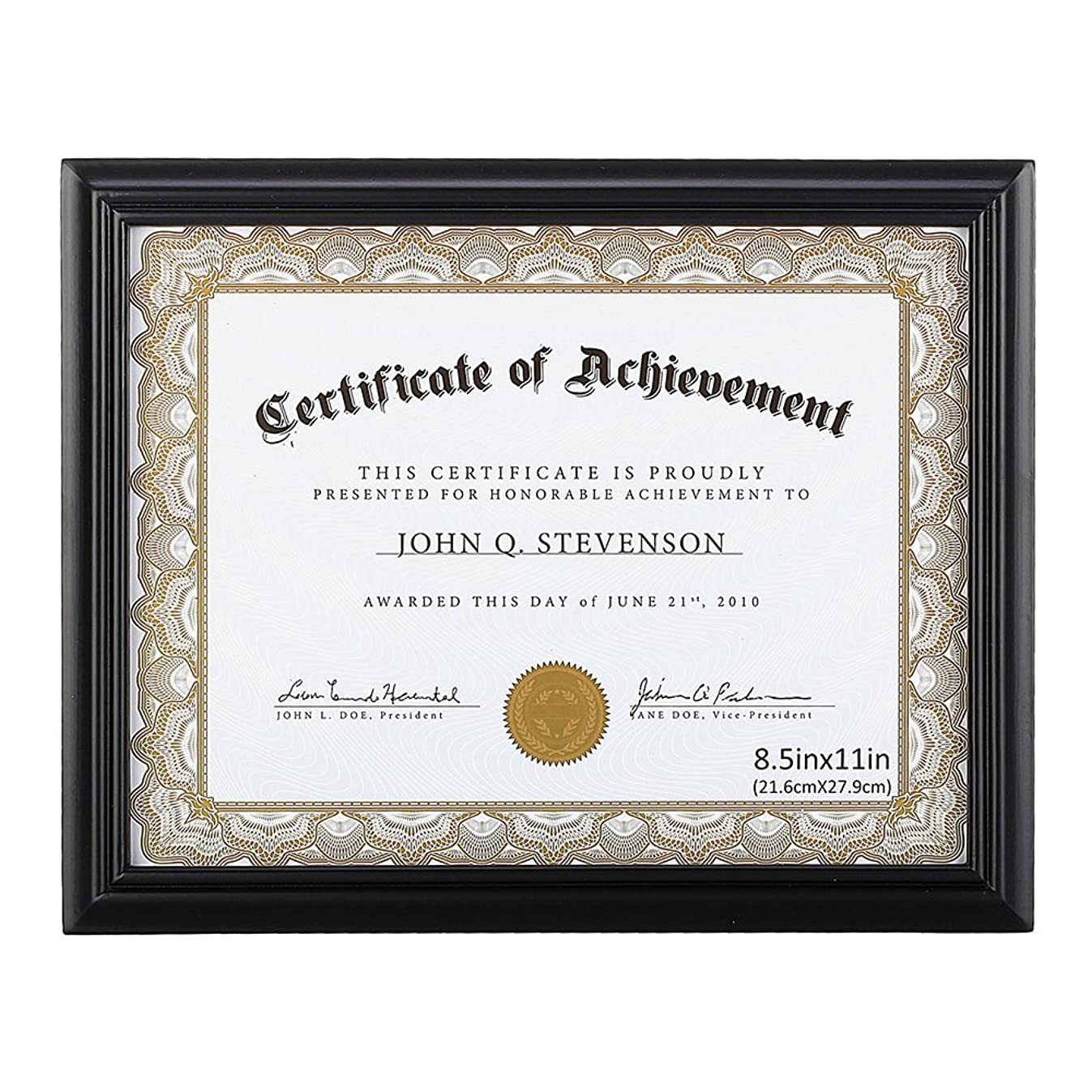 RPJC 8.5x11 Document Frame/Certificate Frames Made of Solid Wood High Definition Glass and Display Certificates, Standard Paper Frame Black