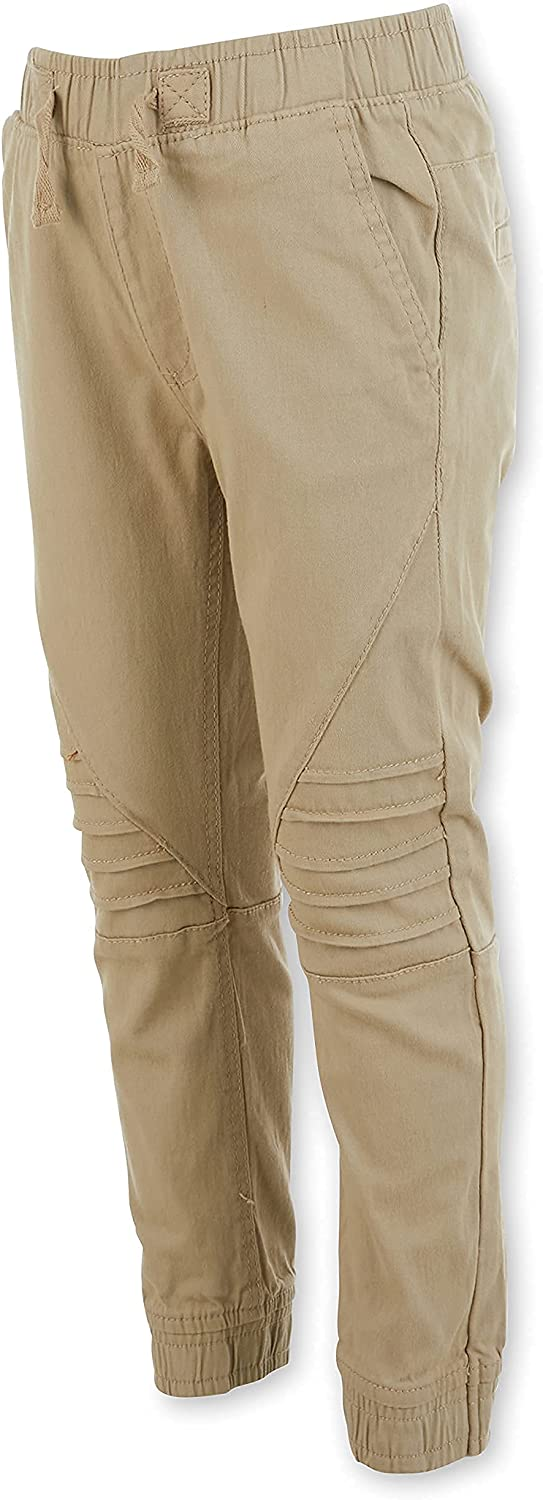 ONE POINT ONE Uniform Jogger Pants for Little Boys Cotton Woven Stretch Khaki Joggers Sweatpants with Side Pockets 4-7