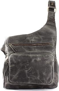LECONI kleine Umhängetasche Leder Damen und Herren Used-Look Vintage-Style Natur praktische Ledertasche Crossbag Bodybag 25x24x5cm LE3015