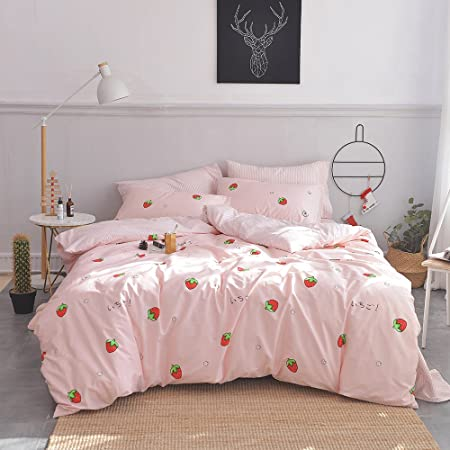 MKXI Rose Pink Floral Duvet Cover Twin Girls Bed Bedding Set White Babysbreath Pattern Spring Botanical Quilt Cover Cotton Cute Home Bedding with Zipper