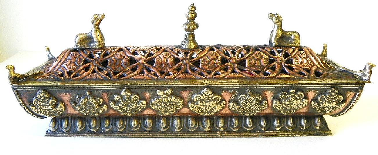 慣れている後退する建設f705?StunningチベットPagodaスタイルIncense Burner Hand Crafted inネパール
