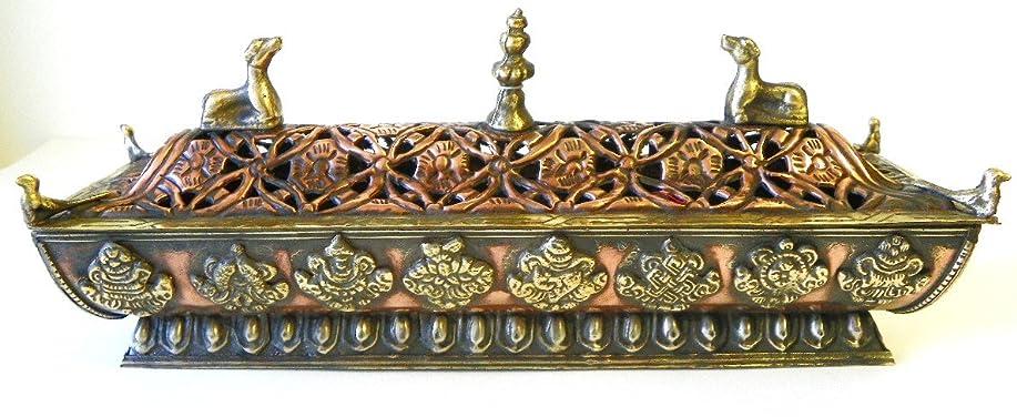 肘伝えるフォーマットf705?StunningチベットPagodaスタイルIncense Burner Hand Crafted inネパール