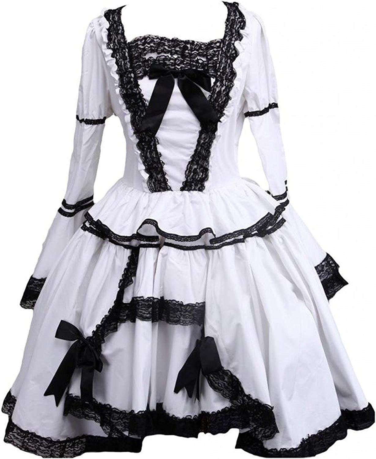 Cemavin Womens Black and White Lace Trimmed Gothic Lolita Cosplay Dress