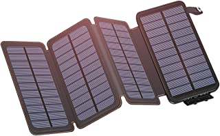 Solar Charger Power Bank 25000mAh Solar Phone Charger with 4 Foldable Solar Panels for Smartphones, Hiking and Camping