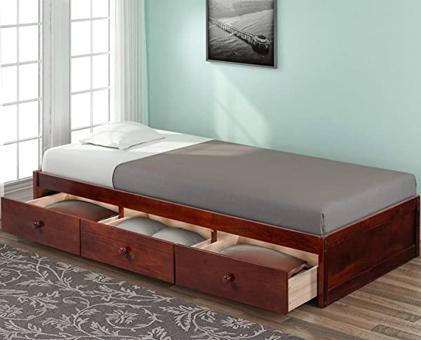 Rhomtree Twin Bed With Storage Platform Bed With 3 Drawers Captain Bed Frame Espresso