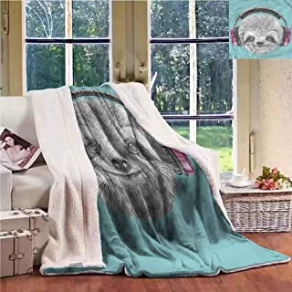 Sunnyhome Fleece Blanket Sloth DJ Sloth Headphones Reversible Blanket for Bed and Couch W59x47L