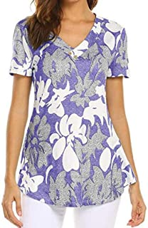 S-Fly Womens Print V-Neck Short Sleeve Casual Loose T-Shirt Tee Top