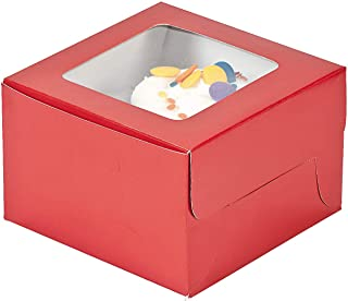 Fun Express - Red Cupcake Boxes - Party Supplies - Containers & Boxes - Paper Boxes - 12 Pieces