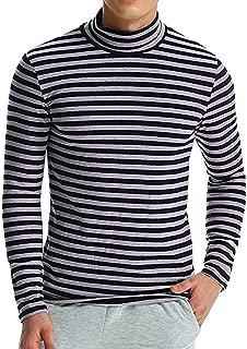 iLXHD Men's Autumn Winter Striped Turtleneck Long Sleeve T-Shirt Top Blouse
