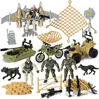 US Army Men Action Figures Play Set,Toy Soldiers with Military Weapons Accessories for Kids Boys