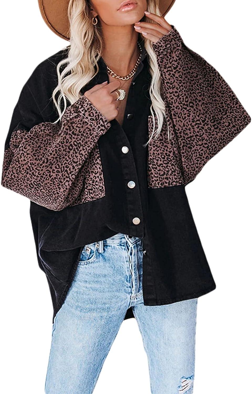 Dcohmch Women Oversized Patchwork Denim Jacket Leopard Contrast Casual Loose Fit Long Sleeve Button Down Boyfriend Coat