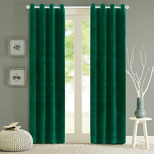 Green Velvet Curtains Amazon Com