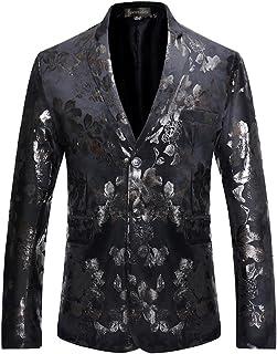 Sportides Men's Casual Slim Fit Flower Printed Two Button Blazer Jacket Suits JZA135 Black M