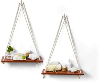 Hanging Shelves with White Cotton Rope | Floating Wall Shelves for Bedrooms | Rustic Bathroom Shelves | Hanging Shelf for Home and Kitchen Wall Display | Set of 2 Single Shelves