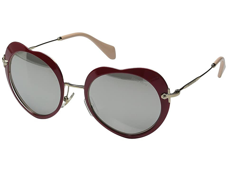 Miu Miu 0MU 54RS (Red/Light Grey Mirror Silver) Fashion Sunglasses