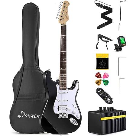 RockJam RJEG02-SK-SB Full Size Electric Guitar Superkit with Guitar Amplifier Guitar Strings Guitar Strap Sunburst /& RJGS01 Aframe Guitar Stand for all Guitars Acoustic Guitar Stand
