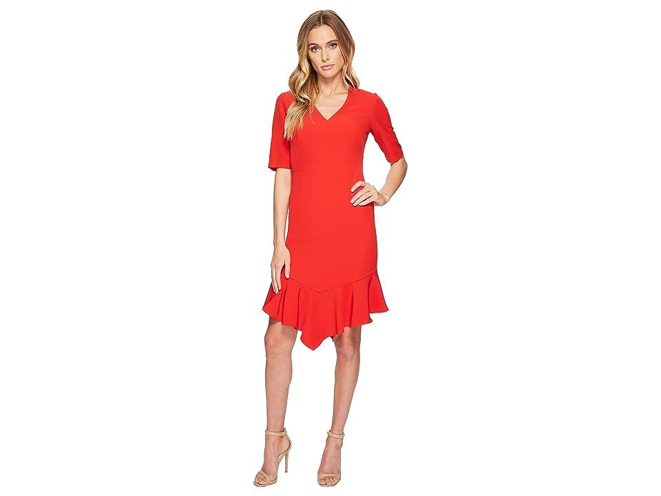 Maggy London Elbow Sleeve Ruffle Flounce Dress (Rose) Women