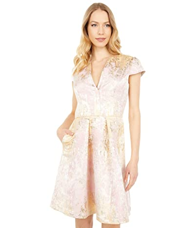 Vince Camuto Jacquard Notch Placket Cap Sleeve Fit-and-Flare (Blush) Women