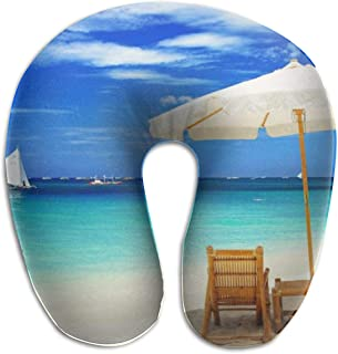 BRECKSUCH Tropical Summer Beach Print U Type Pillow Memory Foam Neck Pillow for Travel and Relief Neck Pain Fashion Super Soft Cervical Pillows with Resilient Material Relex Pollow