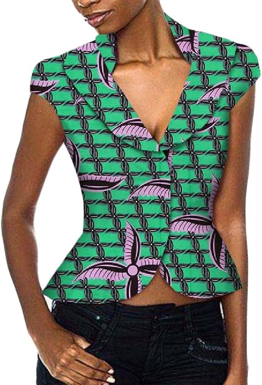 Cheelot Women's Wrap African Top Short Sleeve Fit Allmatch Top Blouse