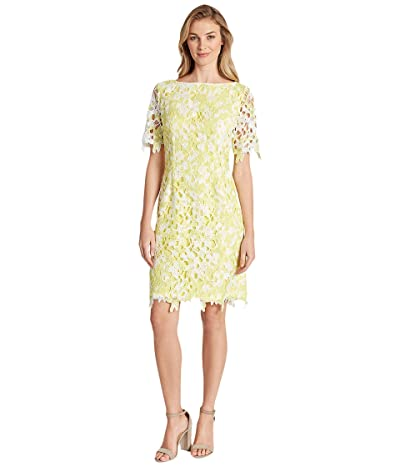 Tahari by ASL Sheath Dress with Sleeves (Yellow Ikat) Women
