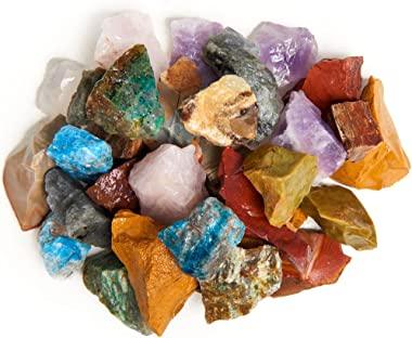 "Digging Dolls: 4 lbs Natural 12 Stone Madagascar Rough Stone Mix - Large Size - 1"" to 1.5"" Average - Raw Rough Rocks"