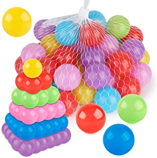 Coogam Pit Balls Pack of 50 - BPA Free 6 Color Hollow Soft Plastic Ball for Years Old Toddlers Baby Kids Birthday Pool Tent Party Favors Summer Water Bath Toy (6CM)