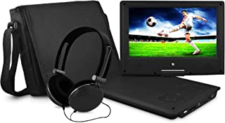 Ematic Portable DVD Player with 9-inch Swivel Screen, Travel Bag and Headphones, Black