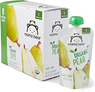 Amazon Brand – Mama Bear Organic Baby Food, Stage 1, Pear, 4 Ounce Pouch (Pack of 12)