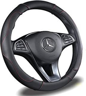 BINSHEO Automative Car Steering Wheel Cover 15 inch Comfort Durability Safety Anti-Slip,Black
