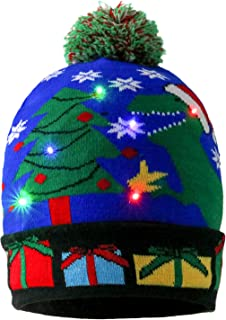 LED Christmas Hat , Kapmore Light Up Knit Colorful Lights LED Xmas Hat for Unisex Kids Winter Snow Christmas Holiday Party Beanie Cap Gifts