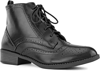 RF ROOM OF FASHION Women's Wing Tip Saddle Lace up Oxford Flats Ankle Boots