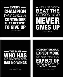 (4 Pack) Motivational Quote Workout Gym Posters 8 x 10 Inspirational Teen Boy Girl Athlete Fitness Success Sports Goal Hard Work Decor. Great for Classroom Posters And Gym Decor! (Sports Vol 1)