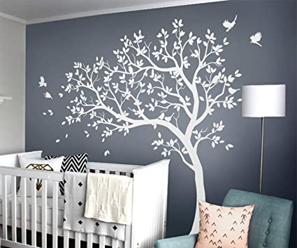 White Tree Wall Decals Large Nursery Tree Stickers With Birds Stunning White Tree Wall Mural Removable Vinyl Wall Tattoo Kw032 1 Amazon Co Uk Baby Products