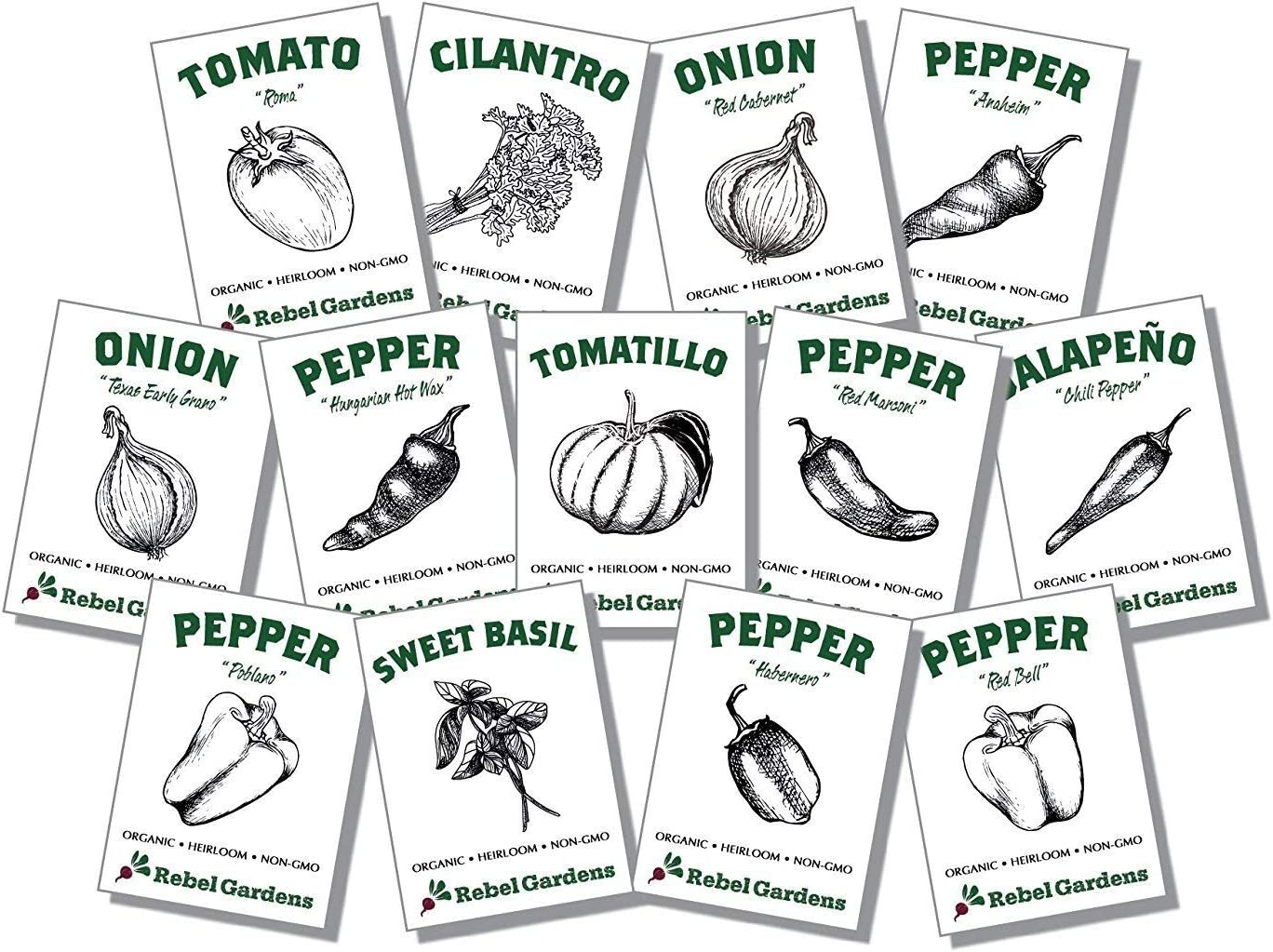 Organic Salsa Garden Seed Kit - 13 Varieties of Heirloom Non-GMO Vegetable Herb and Pepper Seeds - Tomatoes, Tomatillo, and Onions