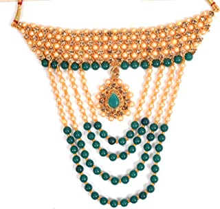 Glorious Green Kundan Wedding Gold Plated Jewellery Necklace Set For Women