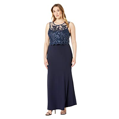 MARINA Plus Size Sleeveless Stretch Crepe Gown with Lace Pop Over Top (Navy) Women