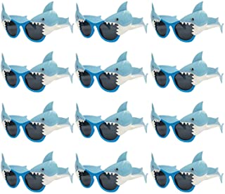 JAKADYUKS 12 Packs Shark Glasses Party Favors for Kids, Shark Photo Booth Props Ocean Theme Party Supplies Costume Shark B...