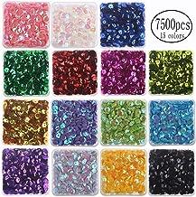 7mm Cup Sequins Boxed 7500PCS Rainbow Loose Sequin Bulk Iridescent Spangles Craft Mixed 15 Color Assorted for DIY Arts Cra...