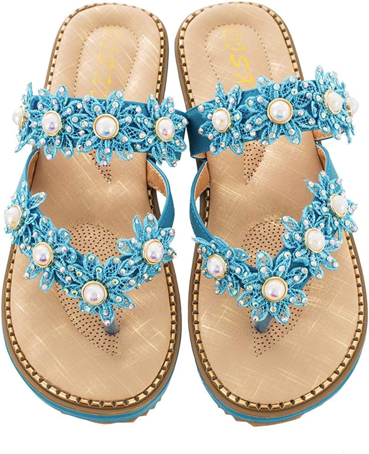 Baviue Women's Jeweled Pearls Leather Beach Thong Sandals Flip Flops